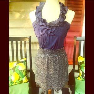 Garnet Hill Grey Sequined Mini Skirt XS